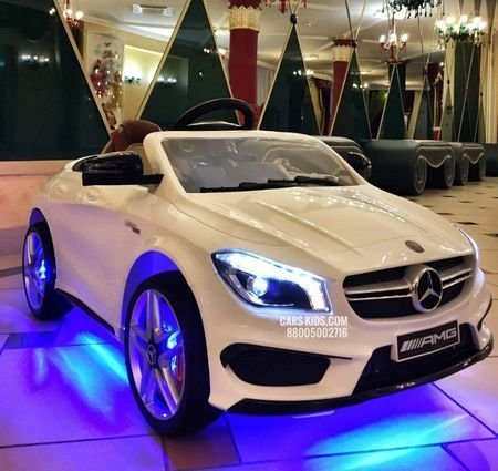Электромобиль Mercedes Benz CLA 45 AMG (колеса резина, сиденье кожа, пульт, музыка)